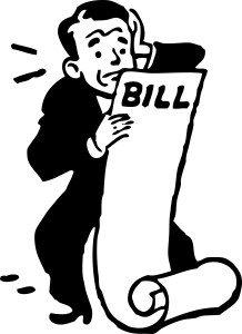 70-Free-Retro-Clipart-Illustration-Of-A-Worried-Businessman-Holding-Large-Bill-Statement