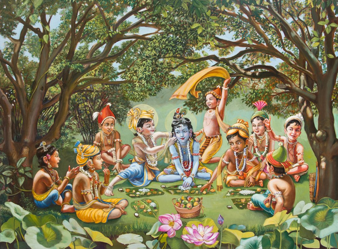 Krishna eats lunch with his friends RTP, no frame