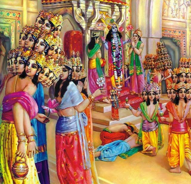 Array - krishna story  brahma visit to lord krishna in dvaraka      rh   bhagavatam katha com