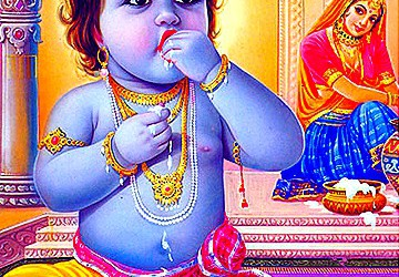 Vrindavan story: Vyasa feeds Krishna throw offerings of the Gopis!